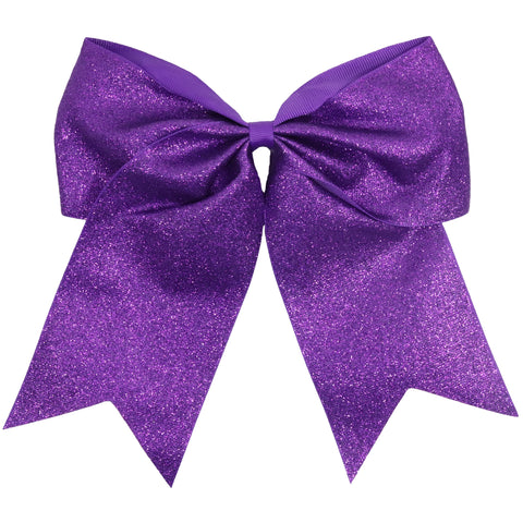 "Purple Glitter Cheer Bow for Girls 7"" Large Hair Bows with Ponytail Holder Ribbon"