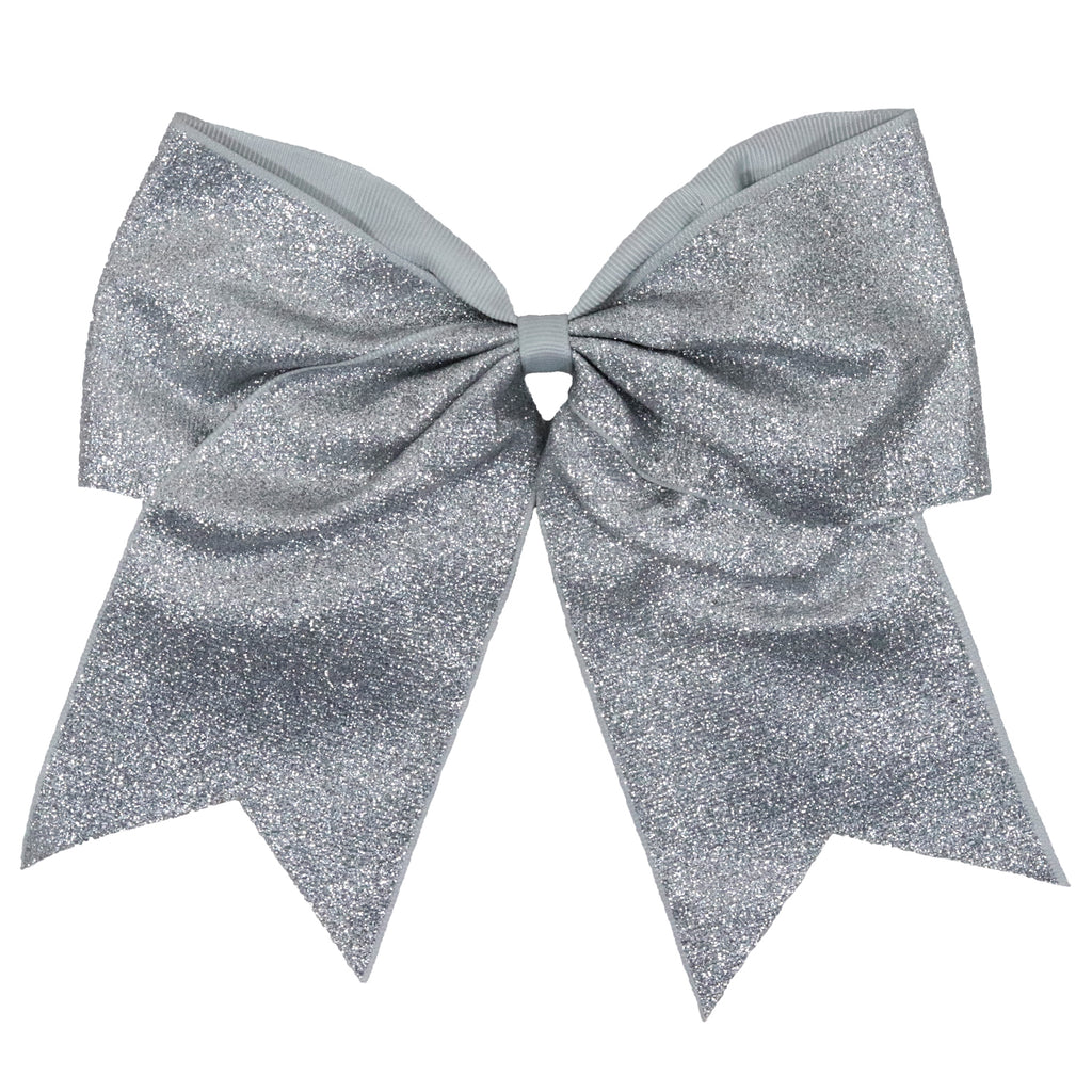 "1 Silver Glitter Cheer Bow for Girls 7"" Large Hair Bows with Ponytail Holder Ribbon"