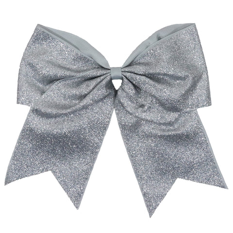 Silver Glitter Cheer Bow for Girls Large Hair Bows with Ponytail Holder Ribbon