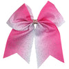 Cheer Bows Breast Cancer Awareness Bow Pink Ombre Rhinestone Large Hair Bow with Ponytail Holder