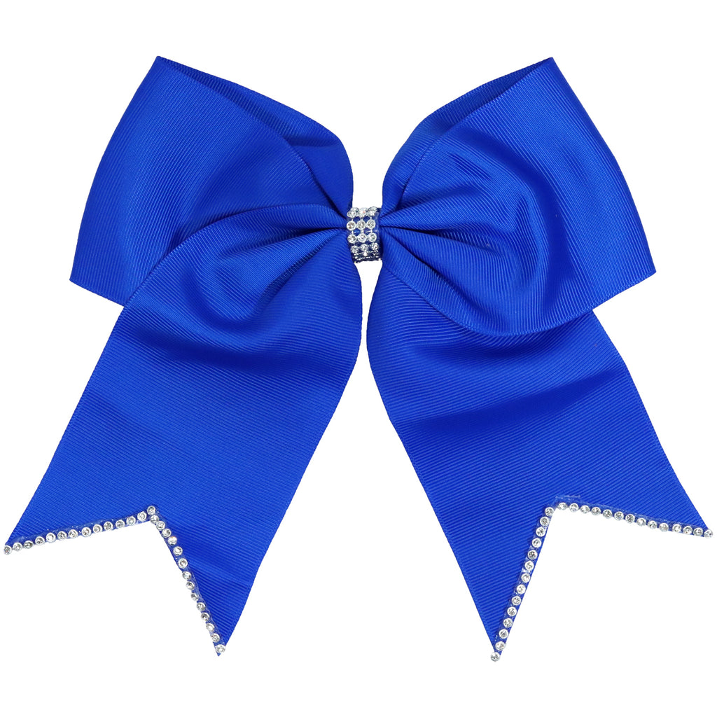 "1 Blue Rhinestone Tip Cheer Bow for Girls 7"" Large Hair Bows with Ponytail Holder Ribbon"