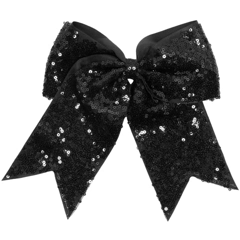 "1 Black Sequin Cheer Bow for Girls 7"" Large Hair Bows with Ponytail Holder Ribbon"