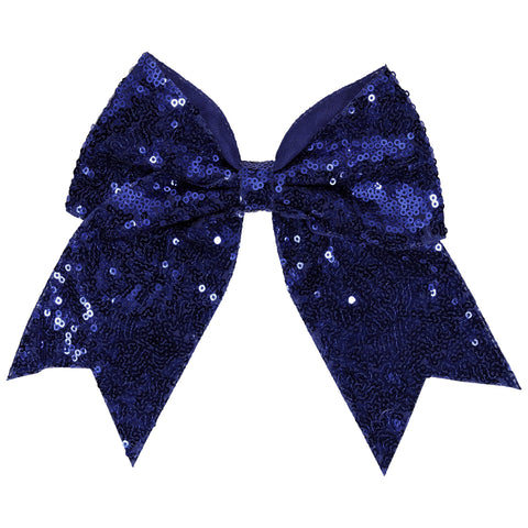 "1 Blue Sequin Cheer Bow for Girls 7"" Large Hair Bows with Ponytail Holder Ribbon"