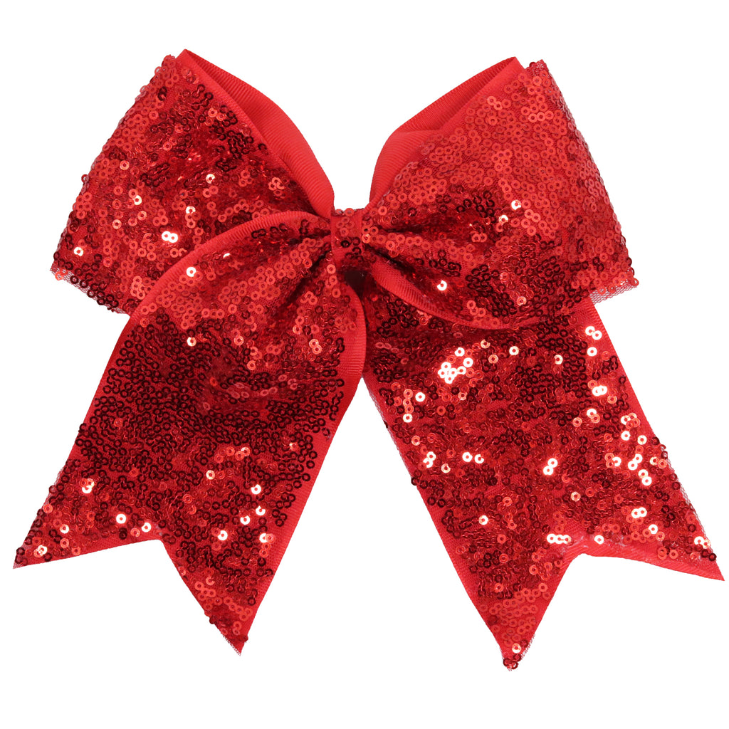 "1 Red Sequin Cheer Bow for Girls 7"" Large Hair Bows with Ponytail Holder Ribbon"
