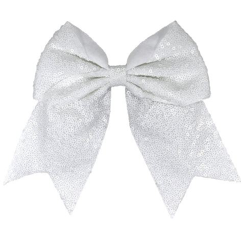 "1 White Sequin Cheer Bow for Girls 7"" Large Hair Bows with Ponytail Holder Ribbon"