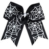 "1 Spider Web Cheer Bow for Girls 7"" Large Hair Bows with Ponytail Holder Ribbon"