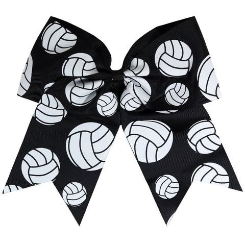 "1 Volleyball Cheer Bow for Girls 7"" Large Hair Bows with Ponytail Holder Ribbon"
