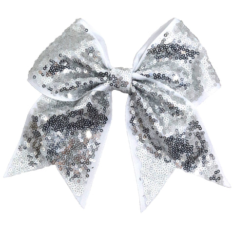 "1 Silver Sequin Cheer Bow for Girls 7"" Large Hair Bows with Ponytail Holder Ribbon"