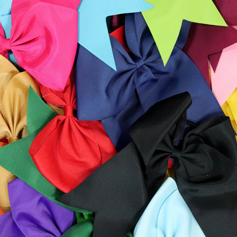 10 Assorted Cheer Bows Large Hair Bow with Ponytail Holder Cheerleader Ponyholders Cheerleading Softball Accessories