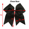 "12 Black Cheer Bows for Girls 7"" Large Hair Bows with Clip Holder Ribbon"