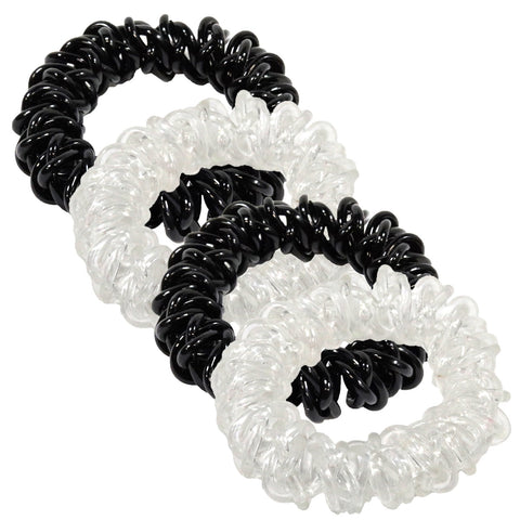 6 Black/Clear Spiral Hair Ties Elastic Coils Ponytail Holders Plastic Rubber Band