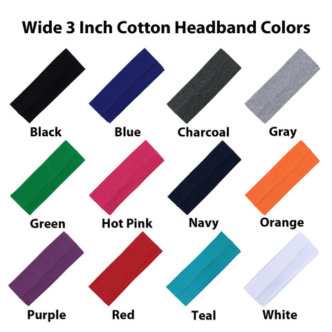 Wide Cotton Headbands 12 Soft Stretch Headband Sweat Absorbent Elastic Head Bands You Pick Colors