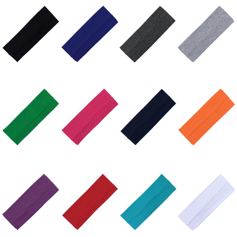 Wide Cotton Headbands 24 Soft Stretch Headband Sweat Absorbent Elastic Head Bands You Pick Colors