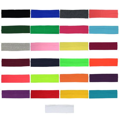 Cotton Headbands 12 Soft Stretch Headband Sweat Absorbent Elastic Head Bands
