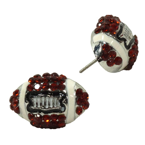 Football Post Earrings Rhinestone