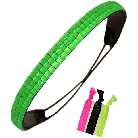 Neon Green Rhinestone Headband Elastic Stretch Hair Band Hairband Head Accessory Bling