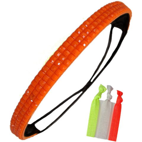 Rhinestone Headband Elastic Stretch Hair Band Hairband Head Accessory Bling Neon Orange