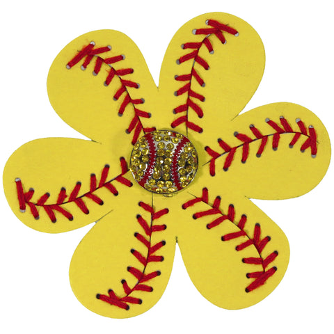 Softball Flower Hair Clip Leather Sports Bow Yellow Red Barrettes With Rhinestone