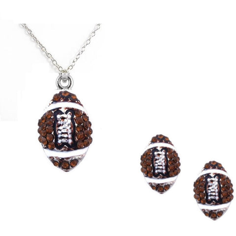 Football Set Post Earrings Necklace Rhinestone