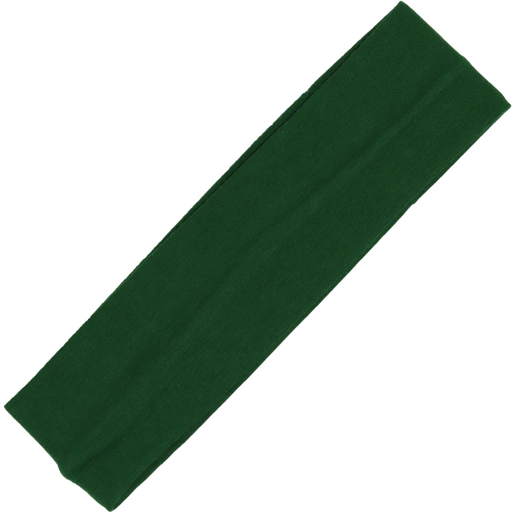 Cotton Headband Soft Stretch Headbands Sweat Absorbent Elastic Head Band Forest Green