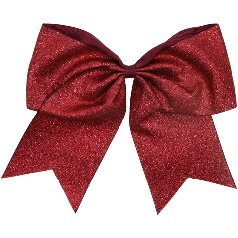 "Maroon Glitter Cheer Bow for Girls 7"" Large Hair Bows with Ponytail Holder Ribbon"