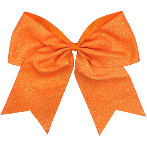 "Orange Glitter Cheer Bow for Girls 7"" Large Hair Bows with Ponytail Holder Ribbon"