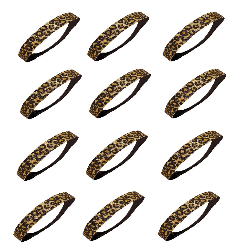 Glitter Headbands 12 Girls Headband Sparkly Hair Head Bands Cheetah Gold