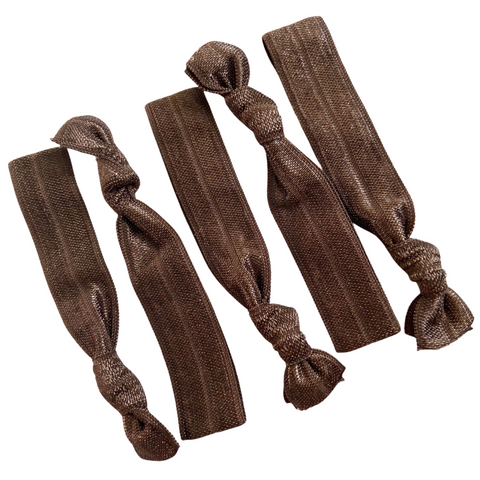 Hair Ties 5 Elastic Brown Ponytail Holders Ribbon Knotted Bands
