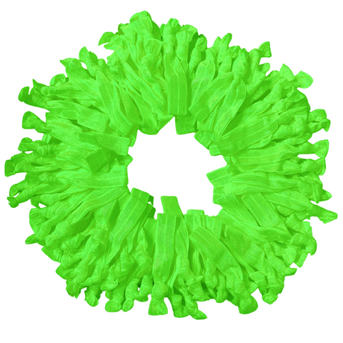 Hair Ties 100 Elastic Neon Green Ponytail Holders Ribbon Knotted Bands
