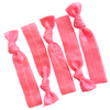 Hair Ties 5 Elastic Neon Pink Ponytail Holders Ribbon Knotted Bands