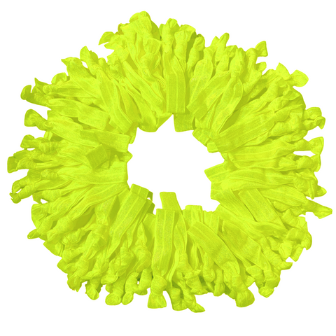 Hair Ties 100 Elastic Neon Yellow Ponytail Holders Ribbon Knotted Bands