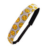 Adjustable Softball Headband Print Yellow on White No Slip Grip 1