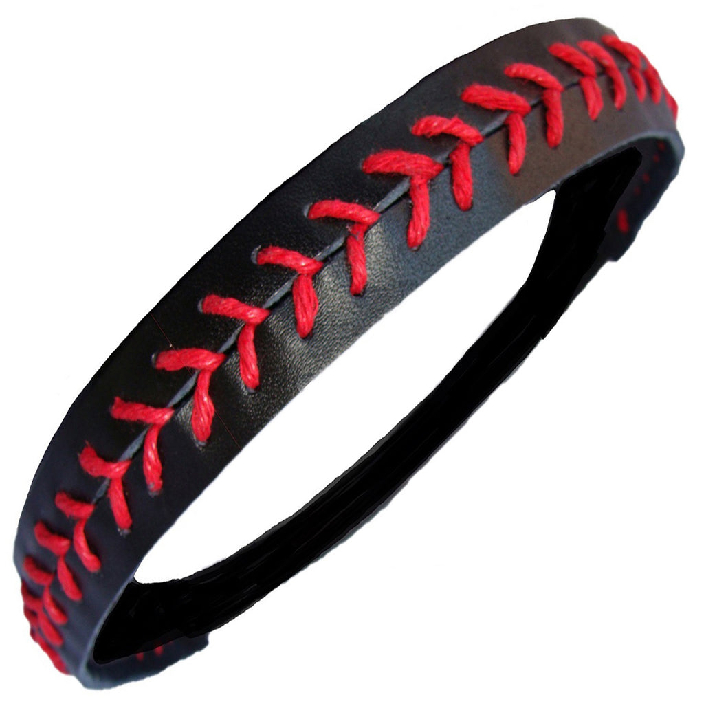Softball Headband Non Slip Leather Sports Head Bands Black Red