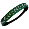Softball Headband Non Slip Leather Sports Head Bands Dk Green with White Stitching
