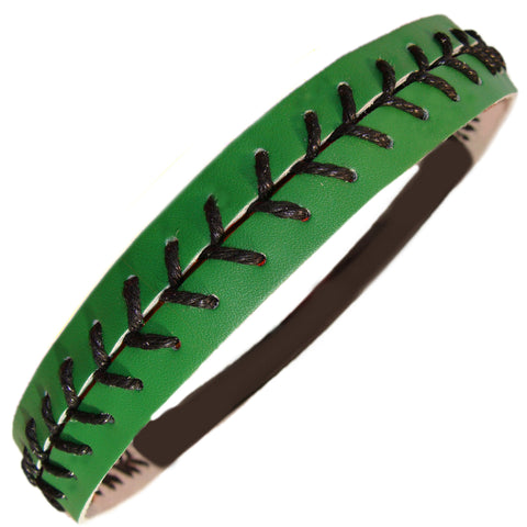 Softball Headband Non Slip Leather Sports Head Bands Green Black
