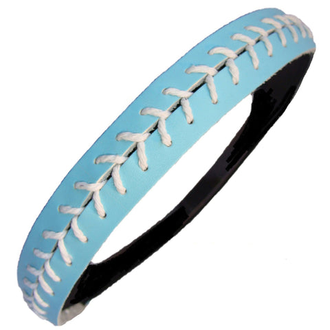 Softball Headband Non Slip Leather Sports Head Bands Light Blue White