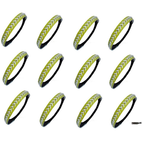 Softball Headbands 12 Non Slip Leather Sports Bands Lime Green with White Stitching