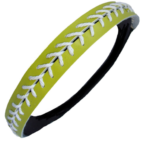 Softball Headband Non Slip Leather Sports Head Bands Lime Green with White Stiching