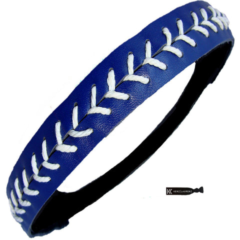 Softball Headband Non Slip Leather Sports Head Bands Navy White