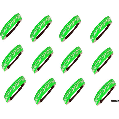 Softball Headbands 12 Non Slip Leather Sports Bands Neon Green White