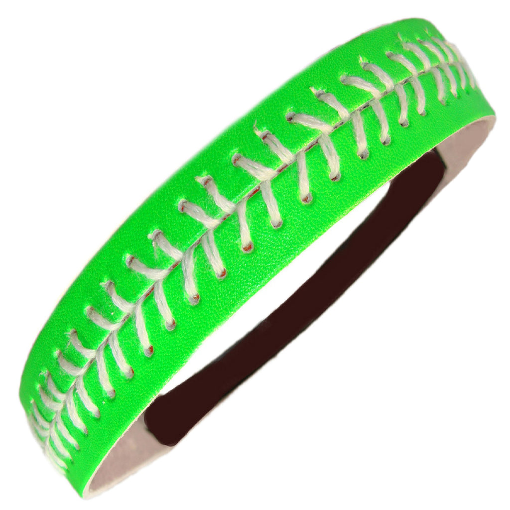 Softball Headband Non Slip Leather Sports Head Bands Neon Green White