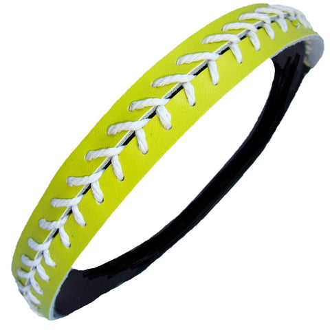 Softball Headband Non Slip Leather Sports Head Bands Neon Yellow White