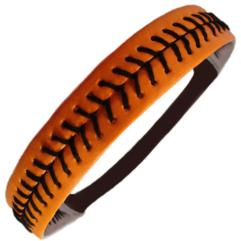 Softball Headband Non Slip Leather Sports Head Bands Orange Black