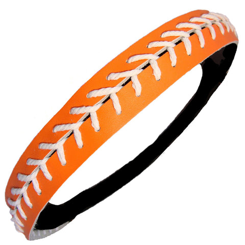 Softball Headband Non Slip Leather Sports Head Bands Orange White