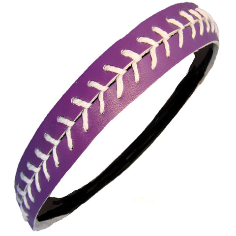 Softball Headband Non Slip Leather Sports Head Bands Purple White