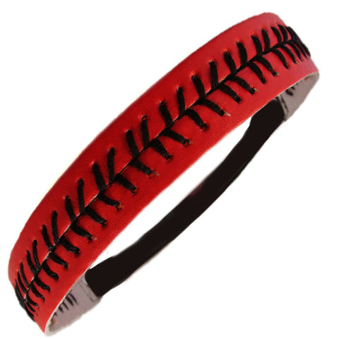 Softball Headband Non Slip Leather Sports Head Bands Red Black