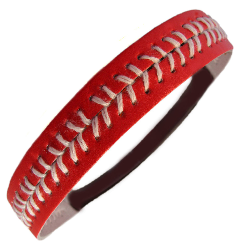 Softball Headband Non Slip Leather Sports Head Bands Red White