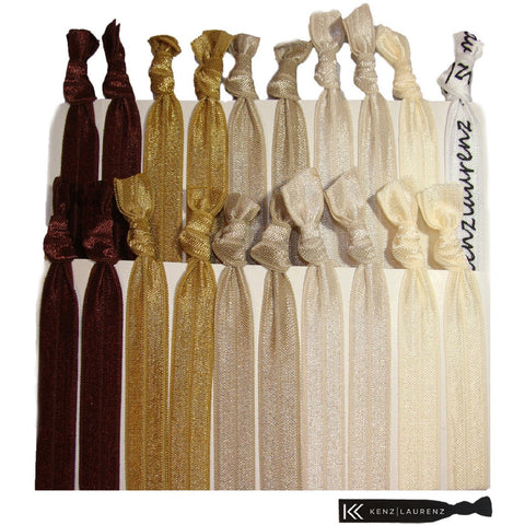 Hair Ties 20 Elastic Brown Ombre Ponytail Holders Ribbon Knotted Bands