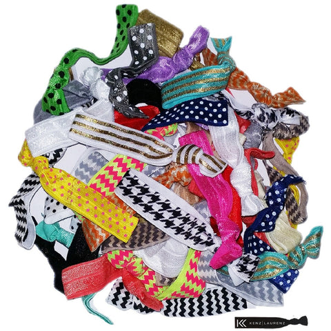 Hair Ties 100 Elastic Grab Bag Lot Ponytail Holders Ribbon Knotted Bands