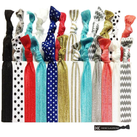 Hair Ties 25 Elastic Premium Ponytail Holders Ribbon Knotted Bands
